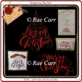 973 Set of 2 Merry Christmas Designs