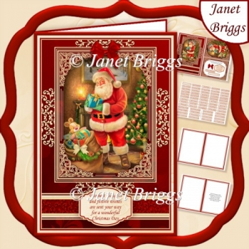 A5 RED & GOLD CHRISTMAS Traditional Santa Quick Layer Card Kit