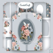 Blue and pink gatefold card set
