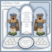 Golfinbears Triple Scalloped Easel Card