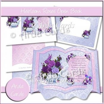 Heirloom Roses Open Book Card