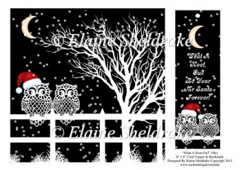 "What A Hoot Owl Mr Santa - 8"" x 8"" Card Topper & Bookmark"