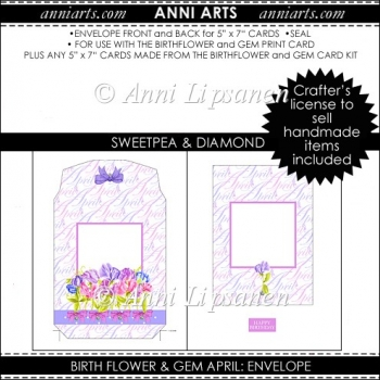 Birth Flower and Gem April: Envelope Add-On Item