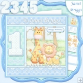 BIRTHDAY AGES 1 TO 5 BOY Lion & Giraffe Decoupage & Insert Kit