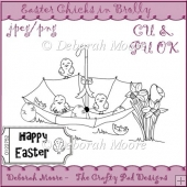 Easter Chicks in Brolly with Sentiment Ticket