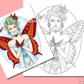 Flutterby Butterfly Fairy ~ Digital Stamp. Digi Stamp, Line Art