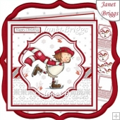 WINTER SKATING 7.5 Christmas Decoupage & Insert Kit