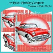 57 Buick Birthday Cardfront with Decoupage