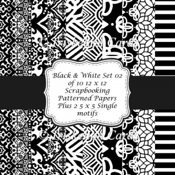 Black and White 12 x 12 Scrapbooking & Backing Papers Set 2