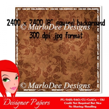 Brown Floral Pattern 8x8 Background with White Border {BT}
