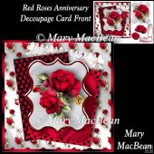 Red Roses Anniversary Decoupage Card Front