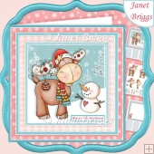 MERRY CHRISTMOOSE 7.5 Christmas Decoupage & Insert Mini Kit