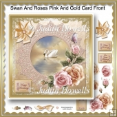 Swan And Roses Pink And Gold Card Front