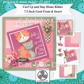 Let's Curl Up and Stay Home Kitties 7.5 Inch Card Front & Insert