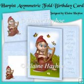 Harpist Gnome Asymmetric Fold Birthday Card Kit