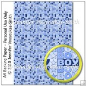 'Baby Boy' Text In Blue Backing Paper