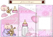 New Baby in Pink Tri Fold Cascade Card Sheet