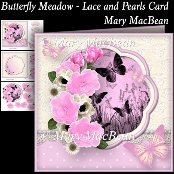 Butterfly Meadow - Lace and Pearls Card