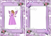 Faerie in lilac with butterflies in flower frame A5 Insert