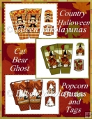 Country Halloween Popcorn Boxes and Tags Set