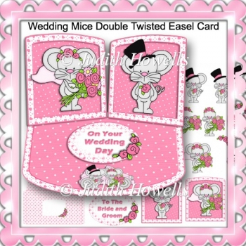 Wedding Mice Double Twisted Easel Card