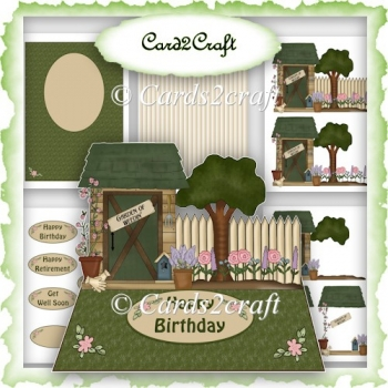 Garden shed easel card