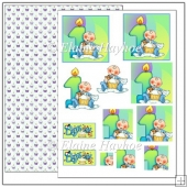 1st Birthday Boy Pyramage Sheet & Backing Paper