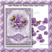 Lilac Roses on Rose Doily Card Front