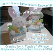 Easter Bunny Baskets/Boxes with Decoupage
