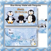 Blue Money Wallet With Penguins