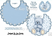 Lovely bib card with pearls and Blue teddy