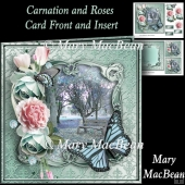 Carnation and Roses Card Front and Insert