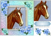 Horse with blue flowers and pyramid layer 8x8