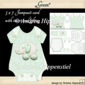 Baby Jumpsuit Shape Card green
