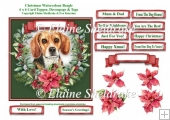 Christmas Poinsettias Watercolour Beagle Puppy Dog - 6 x 6 Card