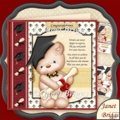 Graduation Bear 8x8 Decoupage Kit