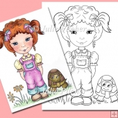Lou Lou and Tommy Tortoise ~ Digital Stamp. Digi Stamp Line Art