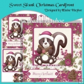 Sweet Skunk Christmas Cardfront with Decoupage