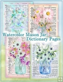 Watercolor Mason Jar Bouquets Dictionary Page Collages