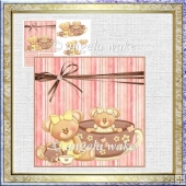 Tea for two card with decoupage