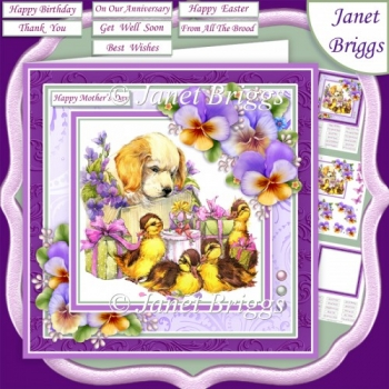 PUPPY DUCKLINGS & PANSIES 7.5 Decoupage & Insert Mini Kit