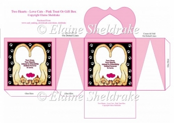 Two Hearts Love Cats Pink Cats Treat Or Gift Box