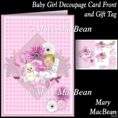 Baby Girl Decoupage Card Front and Gift Tag