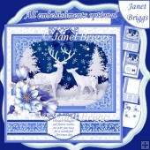 WINTER FOREST DEER Christmas 7.8 Quick Layer Card or Decoupage