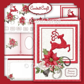 Reindeer and Poinsettia card set