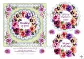Green Pansy & Lace Perfection - 6 x 6 Decoupage Topper