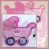 Baby Girl pram shaped card