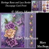 Heritage Roses and Lace Border Decoupage Card Front