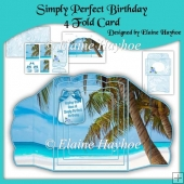 Simply Perfect Birthday Scalloped 4 Fold Card