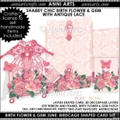 Birth Flower and Gem June: Shabby Chic Birdcage Card Set